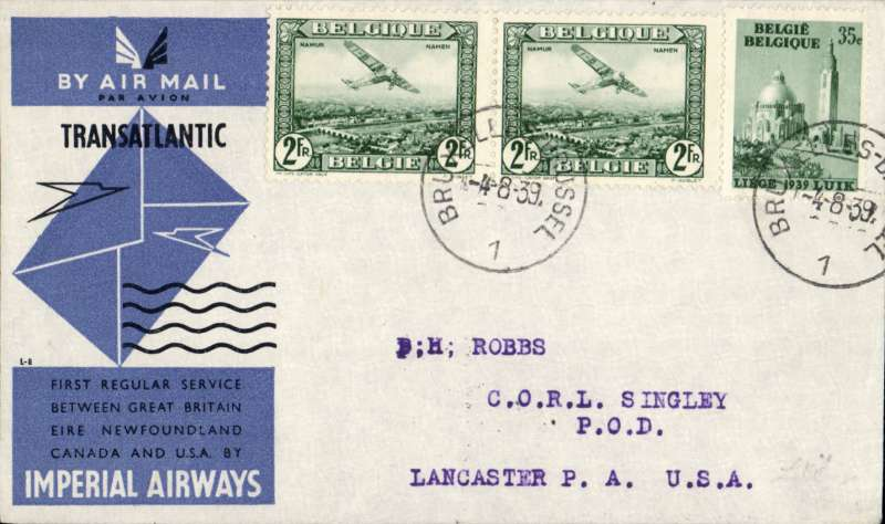 (Belgium) Scarce first acceptance of mail from Belgium for USA for carriage on the inaugural Imperial Airways trans Atlantic service from London to New York, bs 6/8, official black/blue/grey souvenir cover franked 1930 2F x2, and 35c ordinary, canc Brussels 4/8 cds. Only 24 flown.