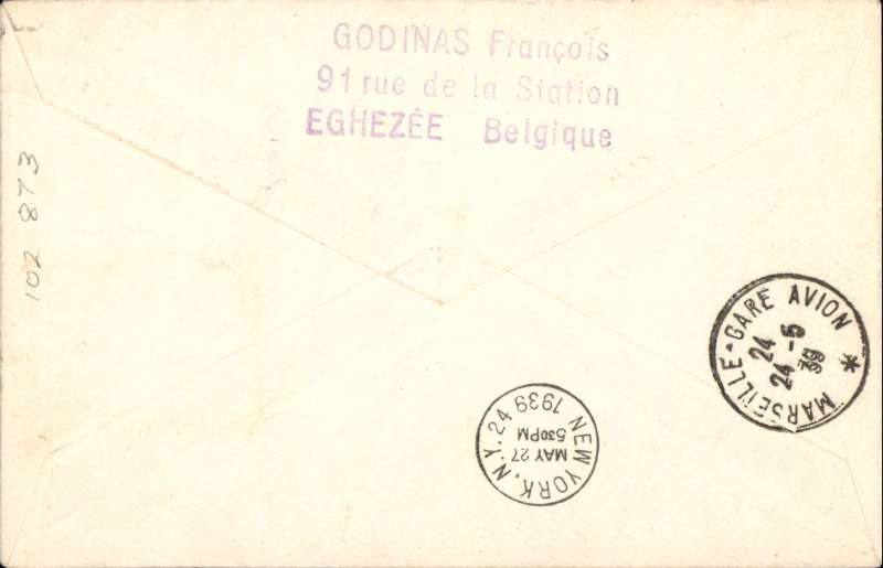 (Belgium) Belgium acceptance for Pan American F/F Marseille, bs 24/5 to New York, bs 27/5, plain cover franked 75c postage and 5F air surcharge, fine strike red flight cachet .