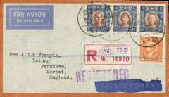 (China) WWII uncensored airmail 'by air all the way', Shanghai to England, 'Registered London oval 6 Dec 40' arrival ds, via Honolulu 16/11 and New York 20/11, red/grey Air Orient envelope correctly rated $6 40c ($6.15 airmail + 25c registration), violet 'Registered' hs. Carried by the China National Aviation Corporation (CNAC) to Hong Kong, Pan Am Fam 14 to San Francisco, US Domestic airline to New York, Pan Am Fam 18 to Lisbon, then by European airline to England. Departure of clipper delayed at Hong Kong until 11/11. Small non invasive top edge tear, closed at the front. A nice wartime cover with great routing.