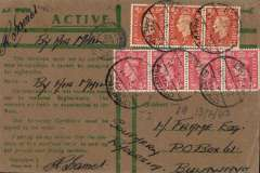 (Egypt) Forces honour envelope, Egypt to Southern Rhodesia, franked 10d with GB stamps, cancelled ?Egypt postage prepaid? to Bulawayo, Southern Rhodesia. Censor cachet.