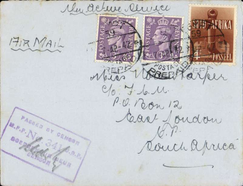 (Egypt) Postage prepaid On Active Service WWII censored cover to South Africa, mixed franking with two 3d GB stamps & 4d South Africa stamp, cancelled ?Egypt postage prepaid? to East London, South Africa, ms 'On Active Service', 'Middle East Forces Censor 341' hs.