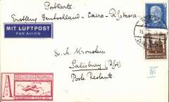 (Germany) Germany acceptance for the Imperial Airways first regular London to South Africa service, Munich to Salisbury, S. Rhodesia, bs 31/1, via Alexandria 23/1, PC franked 75pf, red/white Strasbourg Exhibition label.