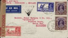 (India) World War II censored airmail flown all the way from India to London, commercial airmail etiquette cover with company's name printed on flap, franked 4R 5 1/2a3R 5 annas, canc Calcutta cds, typed 'India-Chungking-England', sealed India OBC brown/red crown censor tape, India black crown in triangle censor mark. Correctly rated for carriage all the way by BOAC from Calcutta  to Rangoon , by the China National Aviation Corporation (CNAC) to Chungking and Hong Kong, by Pan Am FAM14 to San Francisco, by US internal airline to New York, by Pan Am FAM19 to Lisbon, then by BOAC/KLM to London (see Boyle p795). A super WWI item carried on a route which only existed for five months from Dec 1940 to April 1941.