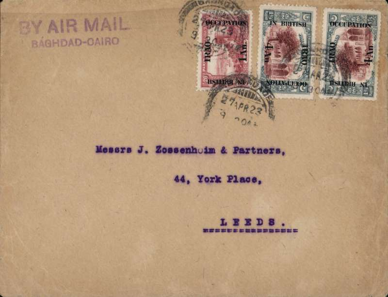 """(Iraq) RAF Cairo-Baghdad Service, Baghdad to London via, RAF Baghdad to London, Imperial Bank of Persia cover, correctly rated 9 annas (1918 """"In British Occupation"""" 4 annas x2 and 1 anna, canc Baghdad cds. nice strike violet two line 'By Air Mail/Baghdad-Cairo'."""