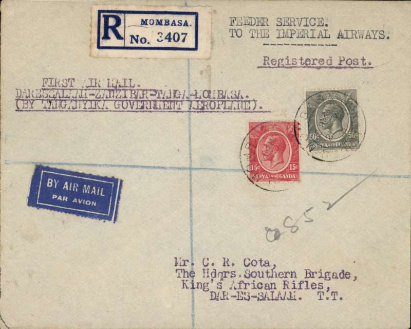 """(Kenya) Tanganyika Govt regular feeder service, first return flight, Mombasa to Dar es Salaam, bs 23/10, registered (label) airmail cover addressed to C.R.Cota, King's African Rifles, franked 65c, canc Mombasa cds, typed """"Feeder Service/To The Imperial Airways"""" and """"Fist Air Mail/Dar es Salaam-Zanzibar-Tanga-Mombasa/By Government Aeroplane"""", blue/white airmail etiquette."""