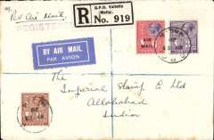 """(Malta) F/F Valleta to Allahabad bs 11/6, via Alexandria 28/5, Cairo 30/5 and Karachi 7/6, first acceptance of mail from Malta to India for carriage on the new Imperial Airways service from London to Iraq, registered (label) cover franked 6d Air opt. & 3d &1 1/2d ordinary, stamps canc 'GPO/My 23/28/Malta' cds, violet 'Registered' hs, ms 'Per Air Mail'. Carried by sea from Malta-Egypt, then  RAF Egypt-Iraq air mail service to Gaza, then surface to Beyrouth. The Malta Government Notices of March 20 and 28, 1928 notified that, as of 1st April, 1928, mails for Iraq, Persia, NE Arabia and NW India """"will be accepted for carriage by the UK Egypt-Iraq air mail service"""". Acceptances for carriage by this route have been recorded for Baghdad (24/4/1928) and Allahabad (23/5/1928). For confirmation of first flight status of this cover see The Air Mails of Malta, Malta Study Circle, Study Paper No 29, 2000, pp 4&9. A scarce item with superb routing. Non invasive ironed vertical crease barely visible from the front, see scan."""