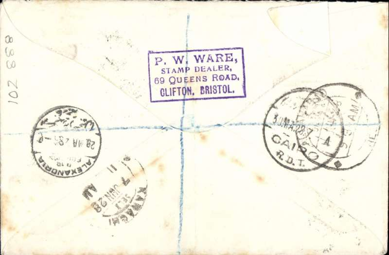 "(Malta) F/F Valleta to Allahabad bs 11/6, via Alexandria 28/5, Cairo 30/5 and Karachi 7/6, first acceptance of mail from Malta to India for carriage on the new Imperial Airways service from London to Iraq, registered (label) cover franked 6d Air opt. & 3d &1 1/2d ordinary, stamps canc 'GPO/My 23/28/Malta' cds, violet 'Registered' hs, ms 'Per Air Mail'. Carried by sea from Malta-Egypt, then  RAF Egypt-Iraq air mail service to Gaza, then surface to Beyrouth. The Malta Government Notices of March 20 and 28, 1928 notified that, as of 1st April, 1928, mails for Iraq, Persia, NE Arabia and NW India ""will be accepted for carriage by the UK Egypt-Iraq air mail service"". Acceptances for carriage by this route have been recorded for Baghdad (24/4/1928) and Allahabad (23/5/1928). For confirmation of first flight status of this cover see The Air Mails of Malta, Malta Study Circle, Study Paper No 29, 2000, pp 4&9. A scarce item with superb routing. Non invasive ironed vertical crease barely visible from the front, see scan."
