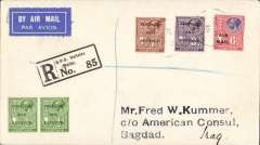(Malta) Valleta to Baghdad, bs 19/10, via Alexandria 15/10, carried on the Imperial Airways service from London to Iraq, registered (label) cover franked 6d Air opt. & 3d &1 1/2d ordinary, stamps canc 'GPO/My 23/28/Malta' cds, violet 'Registered' hs. Carried by sea from Malta-Egypt, then  IAW Cairo to Baghdad.