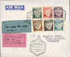 "(Mozambique) Laurenco Marques to Inhambane, bs 12/6, inauguration of the imperial Airways Flying Boat Service, first acceptance of northbound mails, carried by Imperial Airways 'Challenger', registered (label) Netto cover, ms ""5g"", franked 1.41E with 1936 Moz A8 postage due label for airmail with ms Frs 0.40f, used to pay the air fee. Small mail."