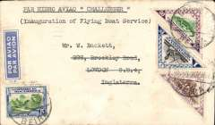 "(Mozambique) Beira to London, 17/6 arrival cds verso, inauguration of the Imperial Airways Flying Boat Service, first acceptance of northbound mails, carried by Imperial Airways 'Challenger', registered (label) Netto cover,  franked 3E canc Beira cds, typed 'Par Hydro Aviao ""Challenger""/Inauguration of Flying Boat Service"". Small mail."