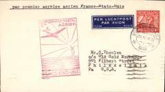 "(Netherlands) Netherlands acceptance for Pan Am F/F FAM 18 Northern Route, Marseilles to New York, bs 27/5, via Marseille Gare Avion 25/5, airmail etiquette cover franked 40c, large red framed flight cachet, typed ""Par Premier Service Aerien France-Etats-Unis""."