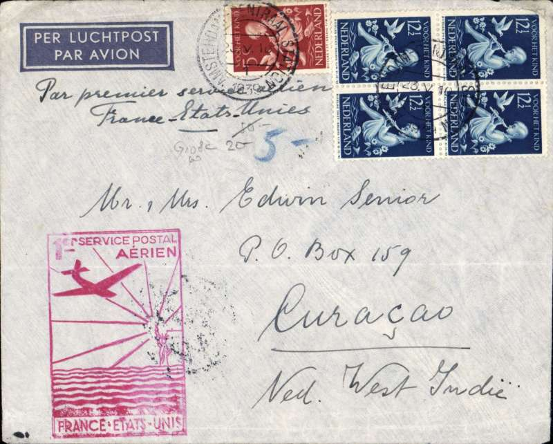"(Netherlands) Netherlands acceptance for Curacao for carriage on the Pan Am F/F FAM 18 Northern Route, Marseilles to New York, bs 27/5, Amsterdam to Curacao, bs 6/6, via Marseille Gare Avion 24/5 and New York 27/5, airmail etiquette cover franked 55c, large red framed flight cachet, typed ""Par Premier Service Aerien France-Etats-Unis"". Scarce."