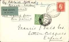 """(New Zealand) First New Zealand acceptance of mail for England via the Karachi-London service, Wellington to Sutton Coldfield, arrival ds 7/8 on front, airmail etiquette cover franked 1/-, ms endorsement """"By Adelaide-Perth and/Karachi-London"""", plain cover, Francis Field authentication hs verso. Maximum of 10 covers flown."""