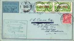 (New Zealand) First NZ acceptance from Wellington for Imperial Airways African service, green New Zealand-Africa cachet applied at Wellington, addressed to Bulawayo, S Rhodesia, franked two 5d airs & 1d Admiral. 50 centimes postage due mark. Covers from the Wellington dispatch are much scarcer, see Walker, p129.