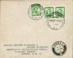 (New Zealand) Cover flown from Blenheim to London by Clouston & Ricketts on their