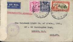 """(New Zealand)  Trans pacific air all the way from New Zealand to England, World War II censored commercial cover from Wellington to London, no arrival ds, franked 10/- and 8/- Fiscal and 3d (3x 6/3d), etiquette, typed 'Transpacific Airmail', black/white NZ censor tape tied by violet """"Passed By Censor NZ/34"""" censor mark. Triple rated correctly for  3x 6/3d 'All Air' Pan Am FAM19 Auckland to San Francisco, US internal air service to New York, Pan Am FAM 18 to Lisbon, BOAC/KLM to London. A short lived rate from 20 Jul 1940 to 9 Sept 1940. See Boyle p 877. A truly scarce WWII item."""