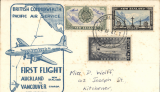 (New Zealand) ANA/British Commonwealth Pacific Airways F/F Auckland to Vancouver, b/s 27/4, cream/blue souvenir cover with map & aircraft cachet produced by J Stapleton (about 50 covers with this cachet were prepared for all stages). Few tiny pinpoint tone spots, do not detract, see scan.