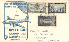 (New Zealand) ANA/British Commonwealth Pacific Airways F/F Auckland to Vancouver, b/s 27/4, cream/blue
