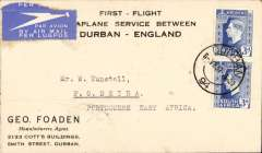 (South Africa) Imperial Airways, first northbound all flying boat service, Durban to PEA, bs Beira 6/6 and Beira 6/6 tying triangular Company de Mocambique 30c,attractive blue/white souvenir cover printed 'First Flight/Seaplane Service Between/Durban-England'