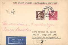 (Sweden) Sweden acceptance, for the F/F Imperial Airways Southampton to Montreal, via New York 6/8, airmail etiquette cover franked 75 ore, canc Laholm cds, typed 'With First Flight Southampton-Montreal'. IAW acceptances from Sweden are scarce.