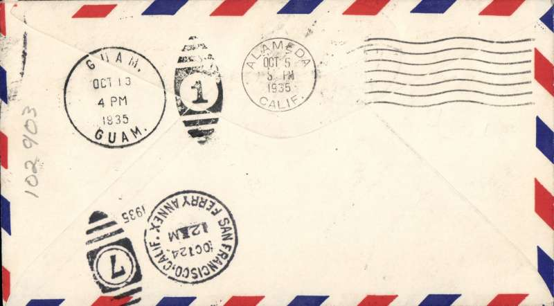 (United States) PAA Clipper Guam Island Survey Flight Cover - San Francisco, CA to Guam and Return - tied San Francisco, CA (10/5/35); Guam (10/13/35); San Francisco (10/24/35); fine strikes green Eastbound and purple Westbond cachets.