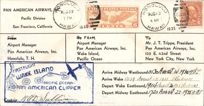 (Wake Island) R.O.A. Sullivan Autograph on 1935 PAA Wake Island Survey Cover - tied 8/22/35 - Honolulu, Hawaii - Honolulu to Midway to Wake Island and return - PAA prepared in Hawaii - very scarce large envelope format - only 4 or 5 seen in this style - signed by commanding pilot R.O.D. Sullivan and station managers on Midway and Wake Islands. Very scarce and in fine condition, identical cover retails at 1000+ USD.