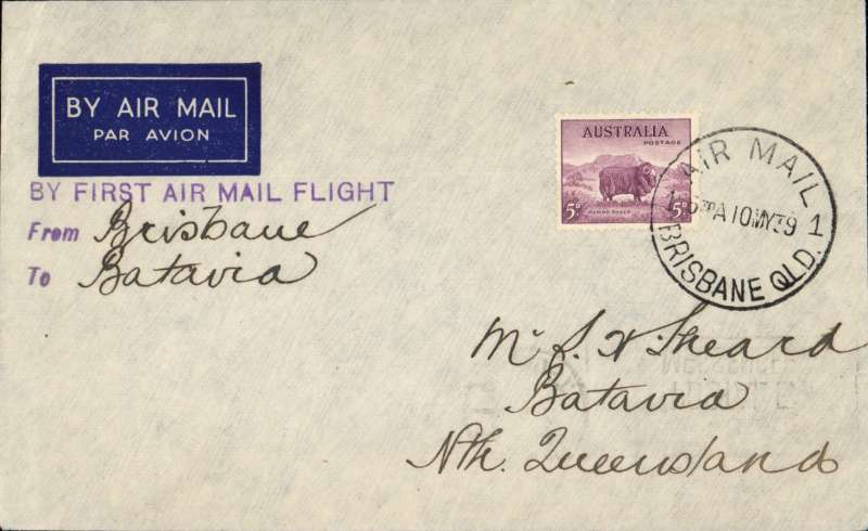 (Australia) First Flight of Airlines of Australia DH89 VH-UZY Cairns to Batavia dispatched from Brisbane (Queensland) on 10th b/stamped Cairns 6pm same day.