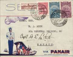 (Brazil) Opening up the Amazon, Panair F/F Manaos to Belem, purple winged flight cachet, printed red/white/blue Panair Do Brasil corner cover, with winged PAA logo on flap, franked 1100R, signed by the pilot Capt. E La Porte. A nice.