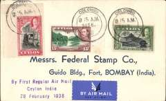 """(Ceylon) F/F second stage of the Empire Airmail Service, Ceylon to India, Colombo to Bombay, bs 1/3, airmail etiquette cover franked 20c, violet three line """"By First Air Mail/Ceylon India/28 February 1938""""."""