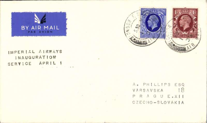 (GB External) First London to Prague stage, bs 2/4, of F/F London-Budapest, Imperial Airways.