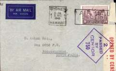 (Australia) WWII airmail cover, Sydney to Johannesburg, carried over the horseshoe route (air to Durban) following the entry of Italy into the war, in June 1940, thus closing the Mediterranean Sea to BOAC aircraft flying the Empire Route. Imprint etiquette cover correctly rated 1/6d canc Sydney 5 Dec 1940, red/white Australian censor tape tied by violet 'Passed By Censor/S.750' censor mark.