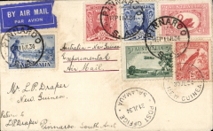 "(Australia) (Pinnaroo)Melbourne to Salamau 31/7, via Lae, b/s 27/7, flown by Ulm in ""Faith of Australia"", airmail etiquette cover franked 1/2d, ms ""Australia New Guinea Experimental Air Mail'."
