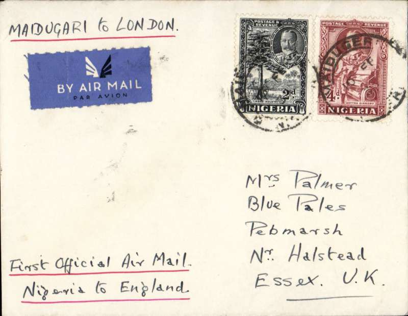 """(Nigeria) First airmail service outside Nigeria, Maiduguri to London,  plain etiquette cover, franked 6d, ms """"Maiduguri to London"""", carried on F/F Elders Colonial AW/Imperial AW.  Only small mail from Maiduguri."""
