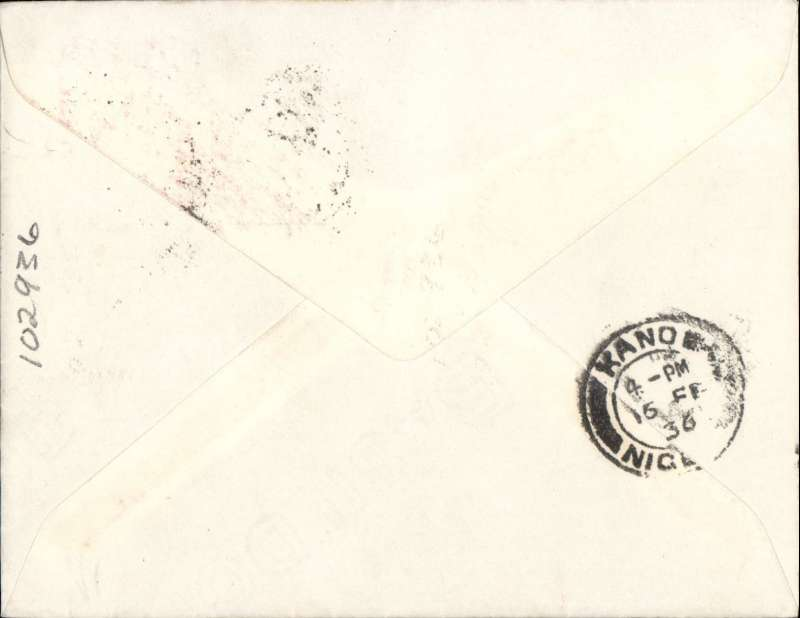 (Nigeria) First official airmail England to Nigeria, Maidugari to Kano, bs 15/2, airmail etiquette cover franked 2d, Imperial Airways, scarce leg.