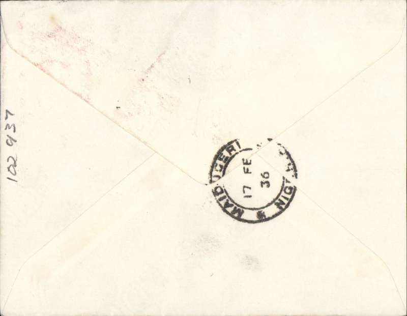 (Nigeria) First official airmail England to Nigeria, Kano to Maidugari, bs 17/2, airmail etiquette cover franked 2d, Imperial Airways, scarce leg.