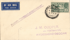 (India) Itinerary change from Bellary to Hyderabad on Karachi-Madras service, Bombay to Hyderabad, bs 4/1, airmail etiquette cover franked 2annas, straight line F/F cachet.