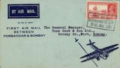 (India) Air Services of India Ltd, scarce F/F Porbandar to Bombay, bs 22/11, blue/pale blue souvenir cover with company logo on flap, franked 2anna, canc black rect ' Kathiawar to Bombay' flight cachet. The insignia of the new service was a triangle containing the initials A.S.I. with wings and a seagull's head. ). Their brochure advertised Bombay (Juhu) to Kathiawar (Bhavnagar) in 90 minutes. Sadly, the service was very little used, (ref 38-75 Brown J, Indian Air Mails, 1995).
