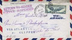 (United States) Service Suspended censored WWII transatlantic clipper airmail, addressed to Ploubazlanec, France, franked 30c, canc Staten Island cds, returned to sender using the French hs 'Retour A L'Envoyer/Relations Postales/Interopues', also magenta 'Return to Sender/Service Suspended' hs applied at New York, and blue two line 'Via Atlantic Clipper', and verso German Military OKW censor seal and censor marks. Nice example.