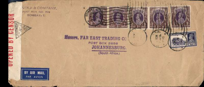(India) WWII high franked censored airmail from Bombay to Johannesburg, carried from Bombay to Karachi by Indian National Airways and from Karachi to Johannesburg by BOAC over the emergency Horseshoe Flying Boat Route established after Italy entered the War in June 1940. Airmail etiquette commercial corner cover, 27x12cm, franked 10R 8annas (KGVI 2R x5 + 8a), sealed red/white India OBC sensor tape tied by India black triangular censor marks. Correctly franked 168 annas for inclusive x12 weight franking. .
