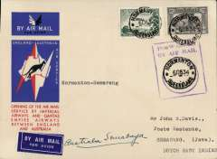 """(Australia) Australia to Netherlands East Indies, Normanton to Surabaya (Java), bs 14/12, via Longreach 8/12, carried on the first regular service, Australia to England, official red/white/blue souvenir """"Kangaroo"""" cover franked 3d and 6d air, violet framed """"Forwarded By Air Mail Normanton"""", Imperial Airways/Qantas."""