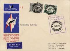 """(Australia) Australia to Netherlands East Indies, Normanton to Batavia (Jakarta), bs 14/12, via Longreach 8/12, carried on the first regular service, Australia to England, official red/white/blue souvenir """"Kangaroo"""" cover franked 3d and 6d air, violet framed """"Forwarded By Air Mail Normanton"""", Imperial Airways/Qantas."""