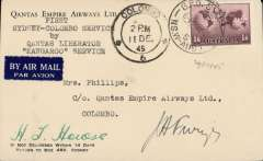 """(Australia) Qantas 'Liberator' Kangaroo Service, F/F Sydney to Colombo, 1/12 arrival ds on front, Qantas company cover with logo on flap, franked 1/6d, canc GPO/NSW Australia cds, typed """"Sydney-Colombo service/by/Qantas 'Liberator' Kangaroo Service"""", signed by pilot Captain H.T.Howse."""