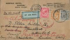 (Kenya) Gladstones's first experimental flight Kisumu to Khartoum and flown on to Cairo by RAF then to London where additionally franked (2.3.27) and readdressed to the Canary Islands, Norfolk Hotel, Nairobi corner cover franked Kenya 70c, then refranked GB 1d, with London 2/3 arrival and Santa Cruz, Tenerife arrival postmarks. Also the original enclosure hand written on the hotel notepaper. Super item.