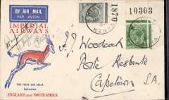(Kenya) Imperial Airways first regular service Kisumu to Cape Town, bs 2/2, via Johannesburg 1/2, official springbok cover, signed by pilots Casparenthus & Sheppard.