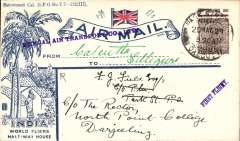 (India) Bengal Air Transport Co, illustrated 'Half Way House' cover, Calcutta to Siliguri, franked 1a, also bs Mount Hermon 22/5 and Darjeeling 22/5, F/F and Bengal Air Transport Co Ltd hand stamps and Francis Field autentication hs verso. On 21 May 1929, the Bengal Air Transport Company introduced, for one week, an experimental service to test the possibilities of a permanent route linking Calcutta with Silliguri and Darjeeling. The pilot was Neville Vintcent and the aeroplane a De Havilland Limousine. See Brown J, Indian Air Mails, 1995, #29-31).