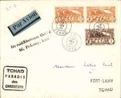 (French Chad) Scarce F/F Ati to Fort Lamy, bs 16/2, carried on the Imperial Airways/Elders Colonial Airways West African Feeder Service to Nigeria, plain cover franked 51F Moyen Congo stamps, canc Ati/Chad cds, black two line '1er raid: Khartoum Abecher, Ati,Ft. Lamy, Kano' cachet. Believed only 20 flown. Francis Field authentication hs verso.