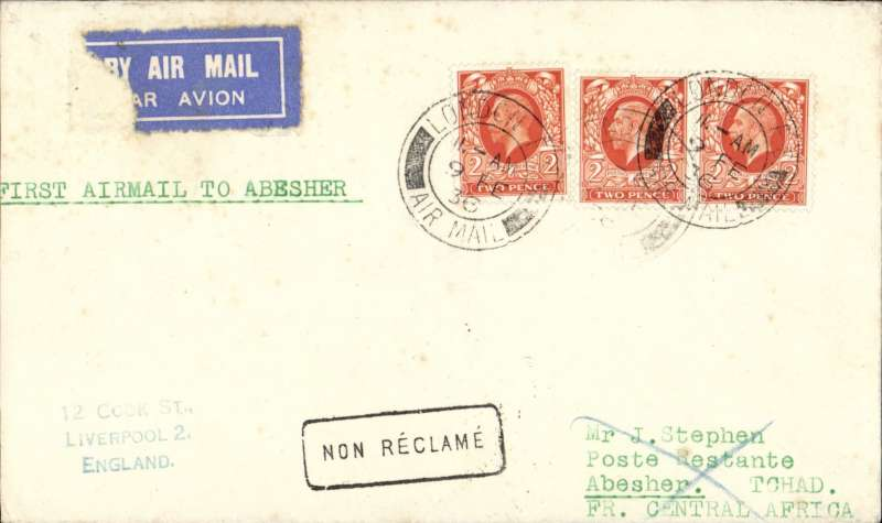 (GB External) Scarce F/F London to Abesher, bs 26/2, no mail dropped at Abesher until 10/4), carried on the Imperial Airways/Elders Colonial Airways, first direct service to Nigeria, plain cover correctly franked 6d, typed 'First Airmail to Abesher', airmail etiquette (corner tear), returned surface via Geneina Fort 2/3, El Fasher 14/3 and Shellal-Halfa TPO 27/3, great routing. Believed only 15 flown.