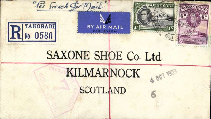 """(Gold Coast) Aeromaritime, early World War II uncensored registered (label) airmail to England, Takoradi to Scotland, bs 4/10, no arrival ds, correctly rated 1/6d (1/3d for the new wartime airmail rate + 3d registration), franked Takoradi cds, ms """"Per French Air Mail"""","""