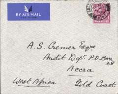 (GB External) London to Accra 16/11 carried on the first West Africa feeder from Khartoum-Lagos to arrive at Lagos on Friday instead of Thursday, imprint etiquette cover franked 6d, bs Lagos 13/11. Carried Imperial Airways flight AS394 to Khartoum,  West Africa Feeder Service WAS41 to Lagos, then surface to Accra.