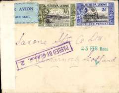 (Sierra Leone) Air France airmail service Freetown to Toulouse, scarce early censored WWII airmail, Freetown to Kilmarnock, Scotland, 23 Feb receiver on front, registered (hs) cover franked 1/6d, sealed by black/white Sierra Leone censor tape, also framed violet  Sierra Leone 'Passed By Censor 2' hs, blue/pale blue airmail etiquette.